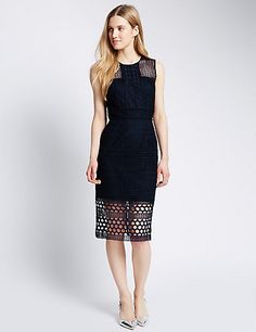 Crochet Panelled Bodycon Dress | M&S £69
