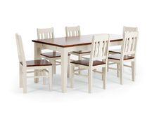 Tisch 180x90 mit 6 Stühlen San Diego weiß braun - massivum