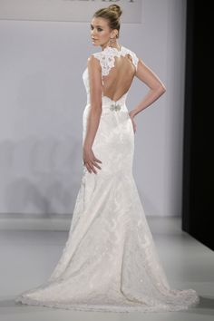 Eve of Milady - Bridal Fall 2013    TAGS:Embellished, Empire line, Fishtail, Floor-length, Train, Cream, Ivory, Eve of Milady, Lace, Silk, Romantic
