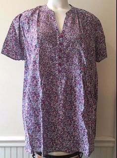 Woman Within Blouse Tunic 2X S/S Floral Blue Purple Button Neckline 1173 #WomanWithin #Tunic