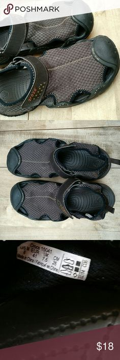 {Crocs} Swiftwater Men's Mesh Shoes sz 8 For Crocs comfort without the Crocs plastic look, these water-ready shoes are perfect. Adjustable with Velcro closure, these are the brand's highest end line. Very good condition. Men's size 8 / women's size 9. Style #15041 CROCS Shoes Sandals & Flip-Flops