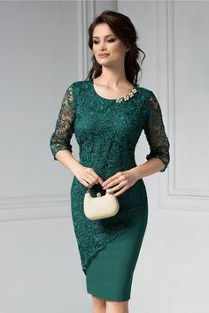 Rochie Malvina verde de ocazie din dantela - Rochii - Bodycon Dress, Peplum, Keep It Classy, Tights, Formal Dresses, Womens Fashion, Casual, Clothes, Floral