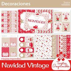 Navidad vintage Kit de decoraciones   Tarjetas Imprimibles Advent Calendar, Barbie, Holiday Decor, Frame, English, Home Decor, Kit, Blog, Ideas
