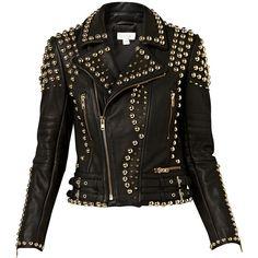 Witchery Studded Leather Jacket ($830) ❤ liked on Polyvore