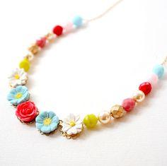 Spring Daisy Flower Necklace. $52.00, via Etsy.