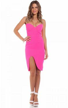 J'adore midi dress in hot pink