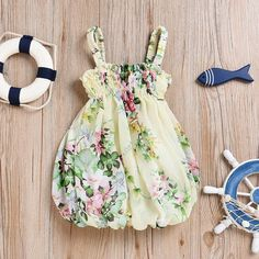 Pastel Yellow Floral Balloon Dress from kidspetite.com! Adorable & affordable baby, toddler & kids clothing. Shop from one of the best providers of children apparel at Kids Petite. FREE Worldwide Shipping to over 230+ countries ✈️ www.kidspetite.com #girl #clothing #dresses #toddler