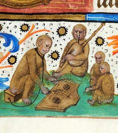 Four monkeys, including one wearing leash attached to box upon which it sits, playing psaltery; one playing bagpipe; and two seated together | Book of Hours | Netherlands, Utrecht | ca. 1490 | The Morgan Library & Museum