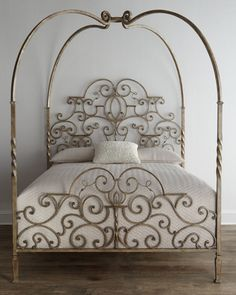 Neiman Marcus Tuscany Queen Canopy Bed, Gold W/Black Rub - Neiman ...