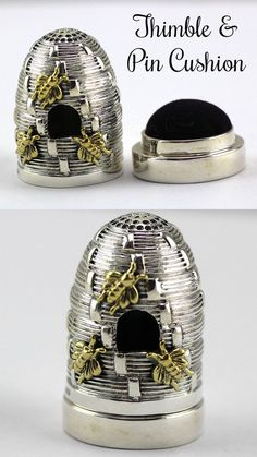 Edwardian Style Sterling Silver Beehive Thimble / Pin Cushion With Gold Plated Bees #ad #bee #thimble