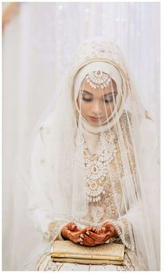 islamic bride with veil wedding outfit idea