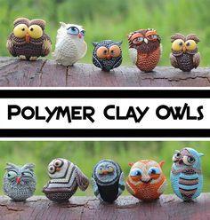 Polymer Clay Owls - So cute