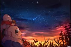 I wanted to draw Sans,Papyrus and Frisk watching stars after moving from underground ; and train backgrounds and sky as well i like how this came out c': Frisk, Undertale Au, Sans And Papyrus, Cool Art, Nice Art, Webtoon, Fairy Tales, Northern Lights, Geek Stuff