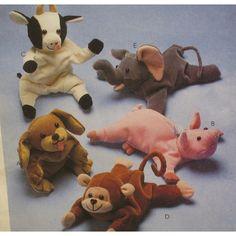 Stuffed Animals Pattern Bull Elephant Monkey Pig by VogueVixens, $6.00
