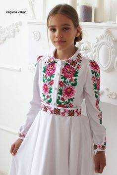 Kids Kaftan, White Frock, Culture Clothing, Ethno Style, Dress Sewing Patterns, Folk Costume, Traditional Outfits, Baby Dress, Designer Dresses