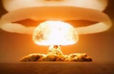 H- Bombs are much more powerful that atomic bombs. They are measured in megatons, or millions of tons as opposed to smaller atomic bombs being measured in kilotons, or thousands of tons.
