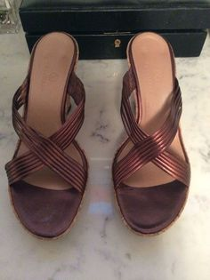 Cole Haan Womans Shoes 9.5 B Brown Copper Cork Wedge Strappy Sandals Slip-On #ColeHaan #PlatformsWedges #Casual