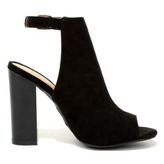 Budding Romance Black Suede Peep-Toe Booties (£26) ❤ liked on Polyvore featuring shoes, boots, ankle booties, black booties, black cutout booties, peep-toe booties, black suede boots and black peep toe boots