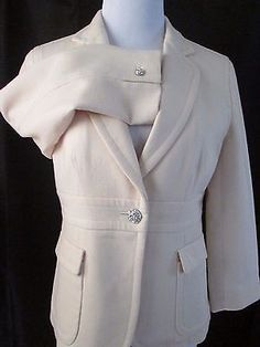 aab6f67d125c8 J Crew Suit Blazer Sz 6 Rhinestone Buttons Off White Occasion Wedding  Suiting in Clothing