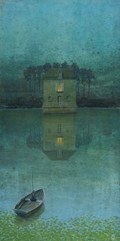 """Philippe Charles Jacquet, La maison de l'auteur, 2014, Oil On Board, 47"""" x 23½"""""""