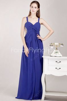 fancyflyingfox.com Offers High Quality Crossed Straps Back Royal Blue Chiffon Full Length Plus Size Prom Dresses With Ruched Bust  ,Priced At Only US$155.00 (Free Shipping)