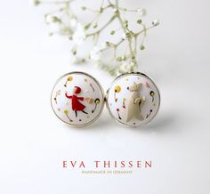 Special offer. Little Red Riding Hood and the wolf. Simple whimsical earstuds. Made to order