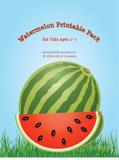 Watermelon Printable Pack containing 69 watermelon-themed activities for kids ages 2-7. Perfect for summer learning! #watermelon #freeprintables || Gift of Curiosity