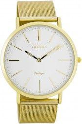 Oozoo Ultra Slim Vintage Uhr C7389 - gold/weiss - 40 mm - Meshband