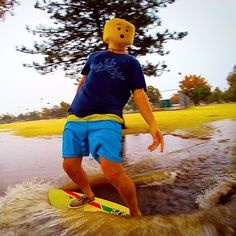 I make puddle skimboarding look good #legoman #urbanskimboarding #style