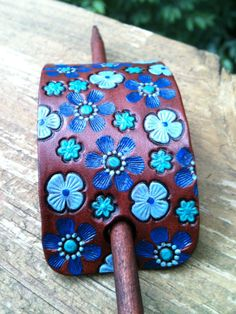 Leather Hair Barrette with stick  Blue Flowers by GratifyDesign, $11.00