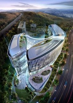 Futuristic Architecture, Pangyo Global R+D Center.South Korea
