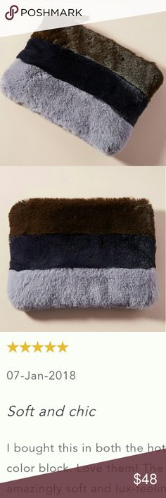 """🆕Anthropologie✨ Plush Faux Fur Pouch This is a large and very soft (rabbit-fur like) pouch you can use for a night out or to put jewelry in! I use my other one for date nights as a purse💕   """"Using only faux leather products, Remi/Reid is the perfect choice for the mindful consumer. Based in Los Angeles, this line of contemporary handbags focuses on function as well as fashion, offering a stylish and durable bag for everyday.""""  By Remi/Reid Faux fur; cotton lining Zipper closure Imported…"""