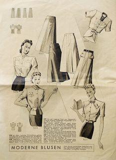 Elegant longer length skirts, c.1940. #vintage #1940s #fashion #illustrations