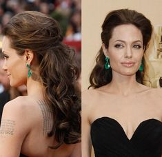 Angelina JolieYear: 2009At the 2009 Oscars, Angelina Jolie opted for this stunning half updo with lots of voluminous curls. The mother of six settled on a subtle cat-eye and a nude lip color to polish off her glamorous look. RELATED: 10 reasons we love the Oscar host