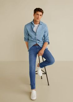Denim collection Casual line Skinny fit Stretch cotton fabric Medium wash Two side pockets Coin pocket Two patch pockets on the back Loops Zip and one button fastening Blue Skinny Jeans Outfit, Jeans Skinny, Skinny Fit, Casual Shirts For Men, Men Casual, Style Costume Homme, Male Jeans, Cool Outfits, Casual Outfits
