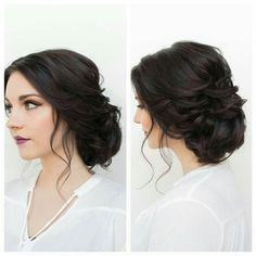 love the hair color Fancy Hairstyles, Bride Hairstyles, Brunette Wedding Hairstyles, Side Bun Hairstyles, Wedding Hair And Makeup, Bridal Makeup, Homecoming Hairstyles, Bridesmaid Hair, Hair Dos