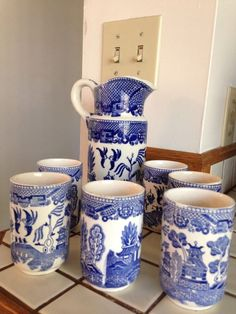 Vintage Blue Willow Pitcher And Glasses Breakfast/Juice/Milk Set