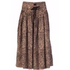Cheetah Evelyn Skirt (40200 RSD) ❤ liked on Polyvore featuring skirts, fold-over maxi skirts, knee length pleated skirt, brown pleated skirt, pleated skirt and pleated midi skirt