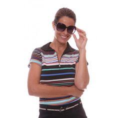 Birdee Sport of Australia Women's Midori Capsleeve Striped Golf Polo-Blue #birdeesport #golfpolos #shortsleevegolfpolos #patterns #ladiesgolfapparel #ladiesgolfshirts #golftops #shortsleevepolos