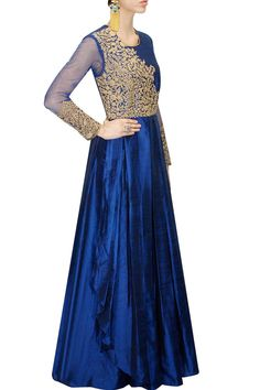 Anoli Shah Dark blue dori embroidered pleated anarkali gown available only at Pernia's Pop-Up Shop.