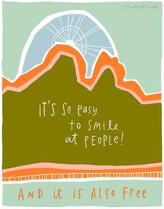 Motivational Quote Smile Inspirational Print por emilymcdowelldraws, $26.00