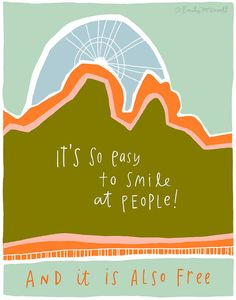 Just smile! Motivational Quote Smile Inspirational Print by emilymcdowelldraw