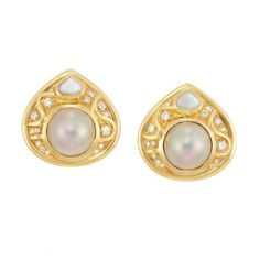 Pair of Gold, Mabe Pearl, Diamond and Mother-of-Pearl Earclips, Marina B. for Sale at Auction on Mon, 04/15/2013 - 07:00 - Important Jewelry | Doyle Auction House