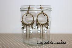 Boucles d'oreilles créoles bronze gris perlé : Boucles d'oreille par les-crea-de-louline