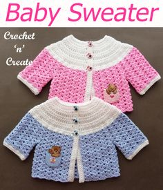 Crochet Baby Sweater Pattern Crochet Baby Sweater Pattern - This cute little simple cardigan is designed for baby boys or girls, it makes a lovely gift and is quick to make. The free baby crochet pattern is below in UK and USA formats. Crochet Baby Sweater Pattern, Crochet Baby Sweaters, Baby Sweater Patterns, Baby Girl Crochet, Baby Knitting Patterns, Baby Patterns, Crochet Clothes, Baby Girl Sweaters, Beanie Pattern