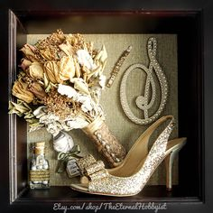 Wedding Trinkets Shadow Box - Shoe, Cake Topper, Favors, Bouquet, Bracelet