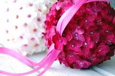 crimson cherry blossom pomander ball