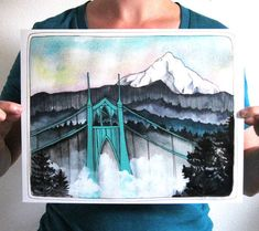 Art  St Johns Bridge Print  Mt Hood Print  Portland Art