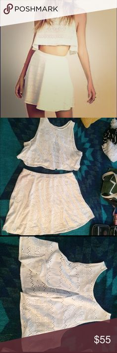 Free People Beach Set Almost new! Free People brand beach collection. Size Large. White eyelet skirt and matching crop, open back top. I wore this set once last summer. Sorry, no trades. Please feel free to make me an offer! Free People Dresses Mini