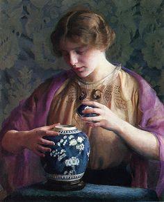 William McGregor Paxton The Oriental jar, 1912-1913. American, 1869-1941